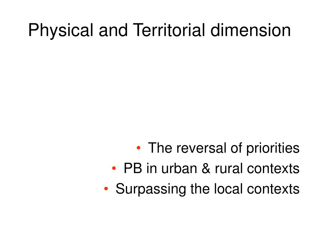 Physical and Territorial dimension