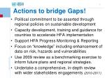 actions to bridge gaps