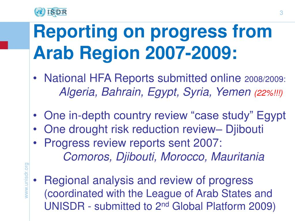 Reporting on progress from