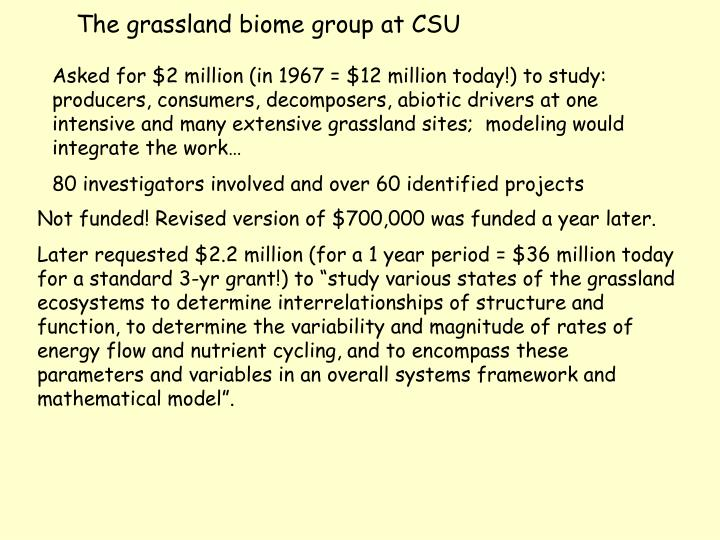 The grassland biome group at CSU