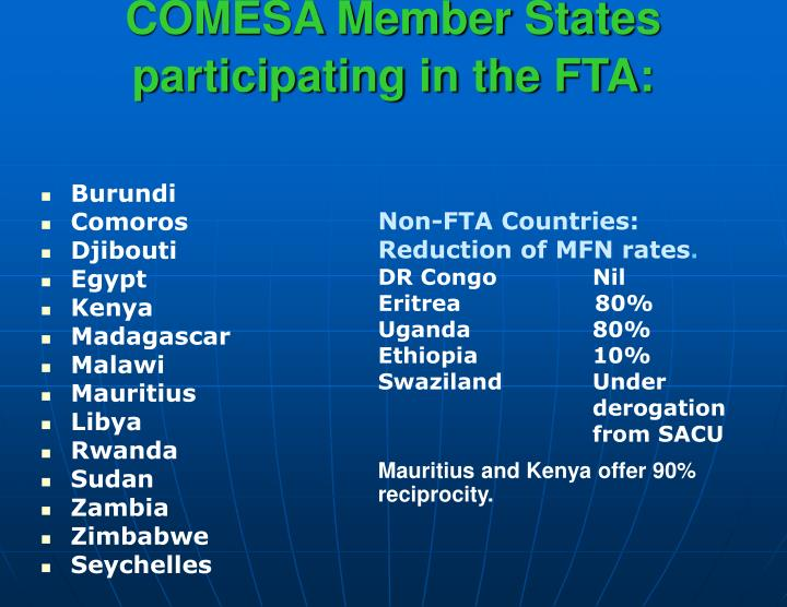 Comesa member states participating in the fta
