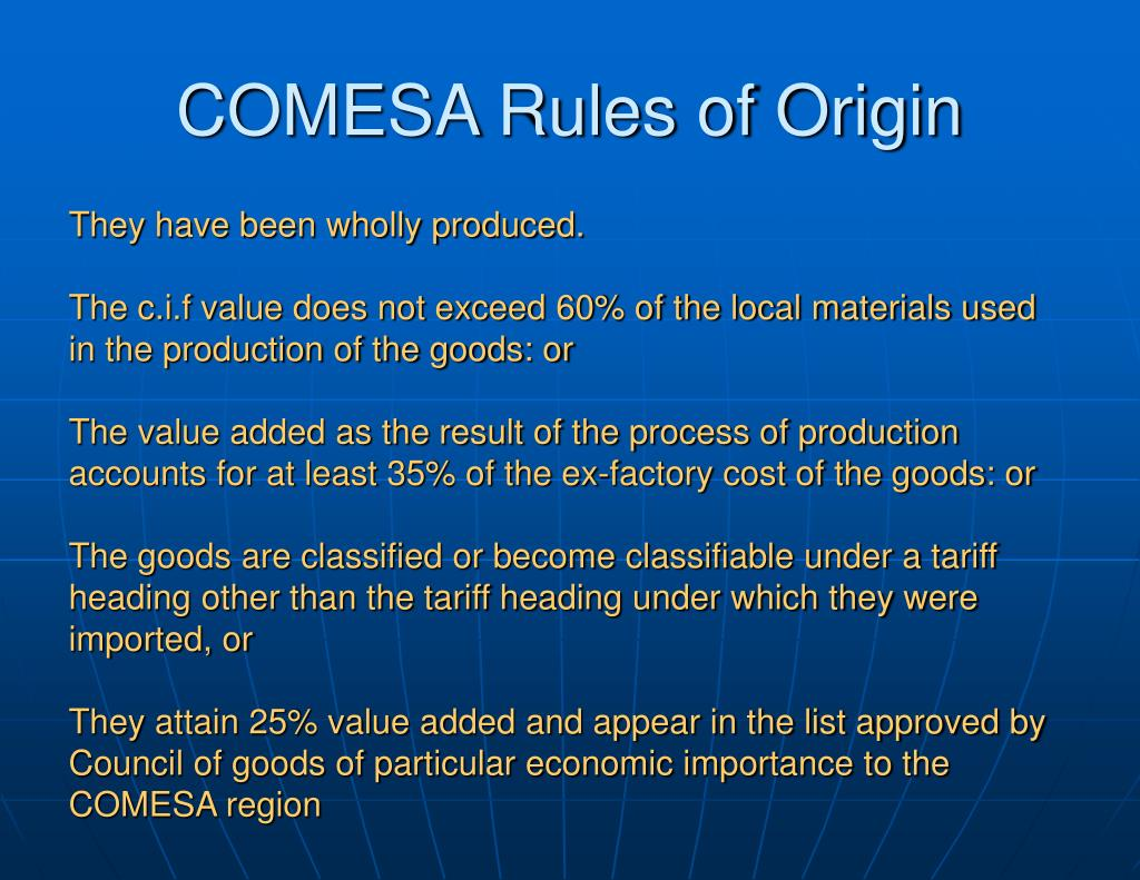 COMESA Rules of Origin