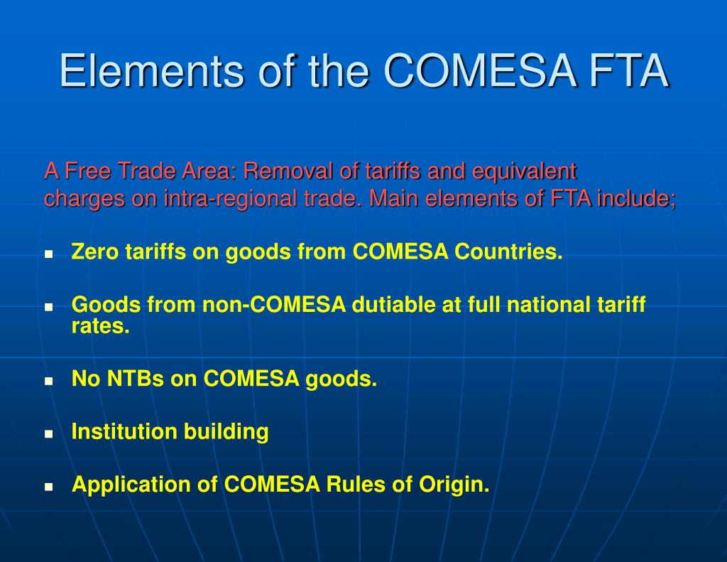Elements of the COMESA FTA