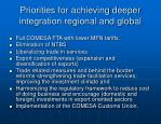 priorities for achieving deeper integration regional and global