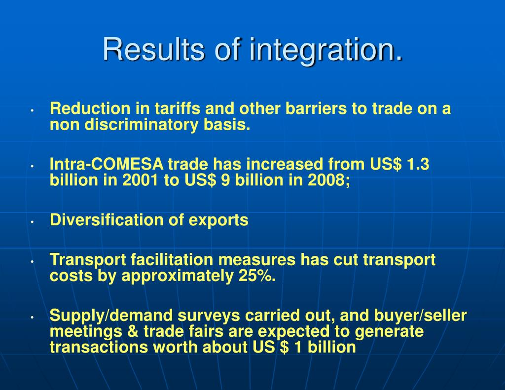 Results of integration.