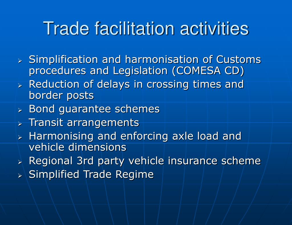 Trade facilitation activities