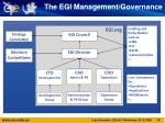 the egi management governance