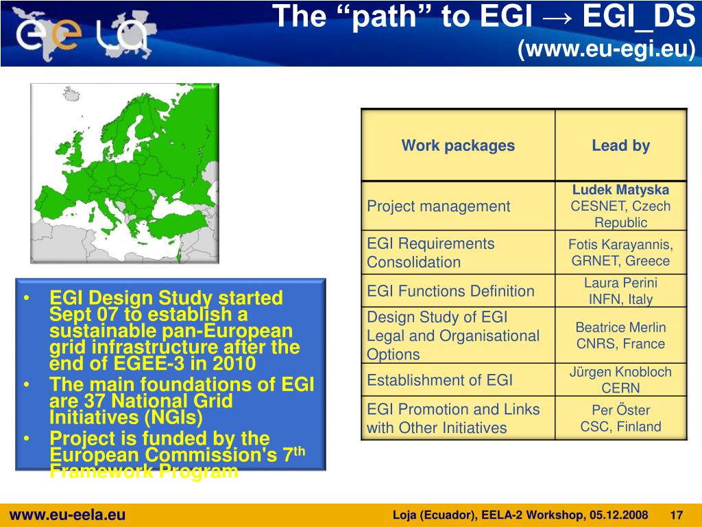 EGI Design Study started Sept 07 to establish a sustainable pan-European grid infrastructure after the end of EGEE-3 in 2010