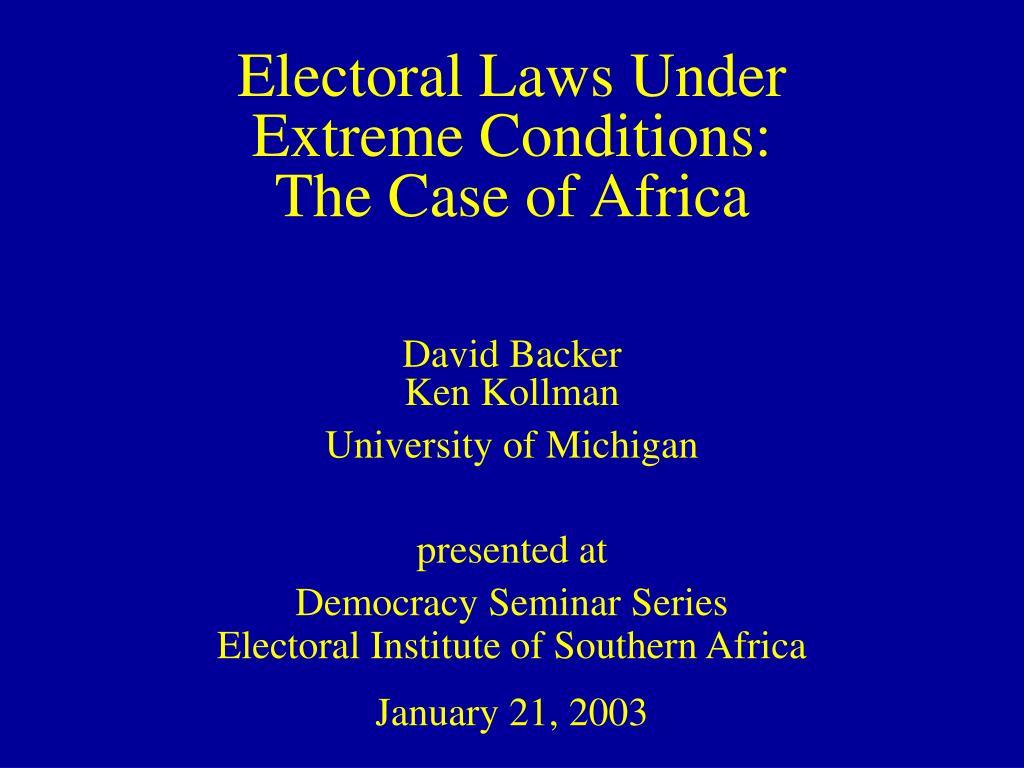Electoral Laws Under