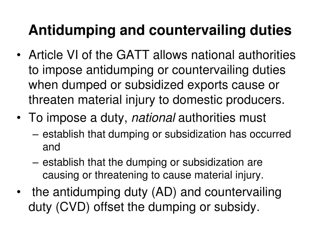 Antidumping and countervailing duties
