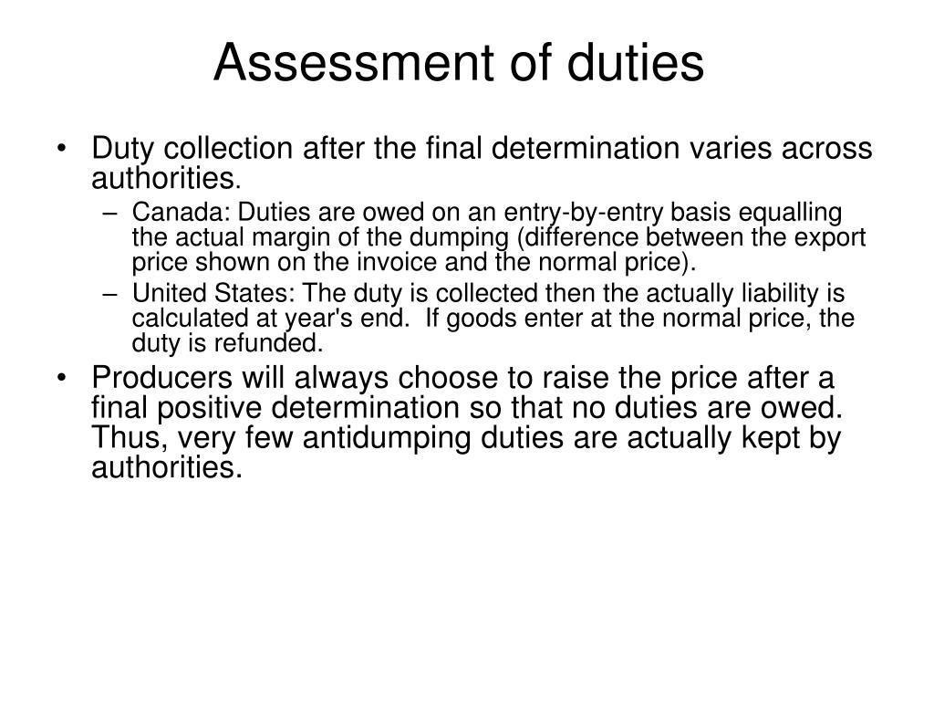 Assessment of duties