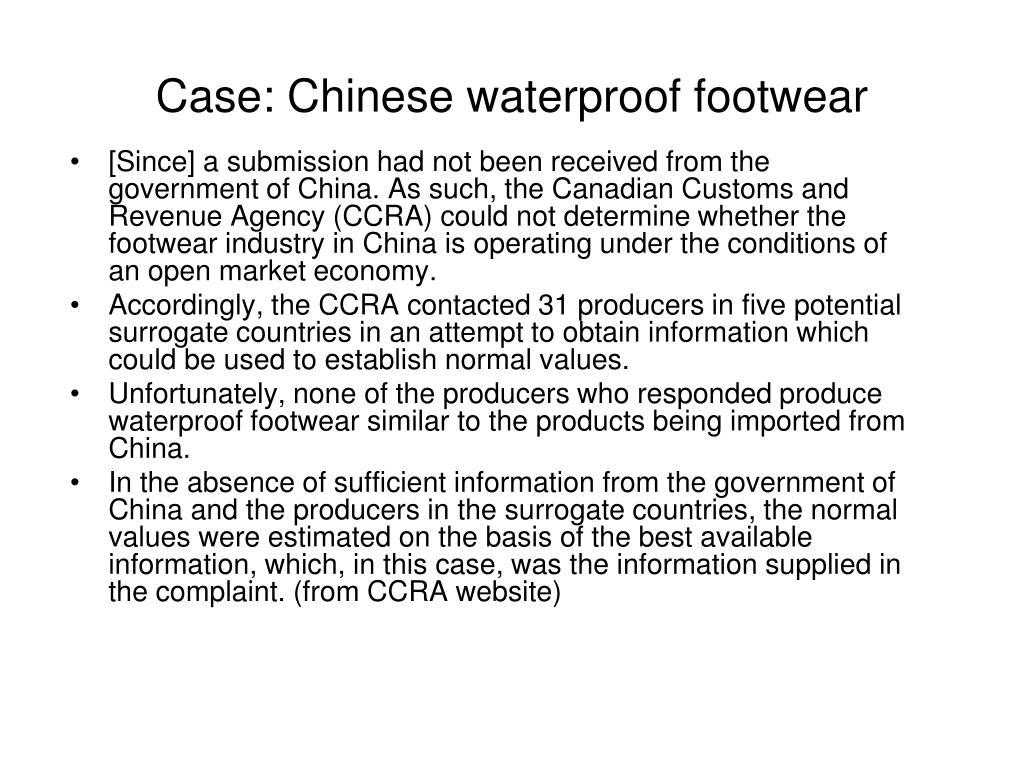 Case: Chinese waterproof footwear