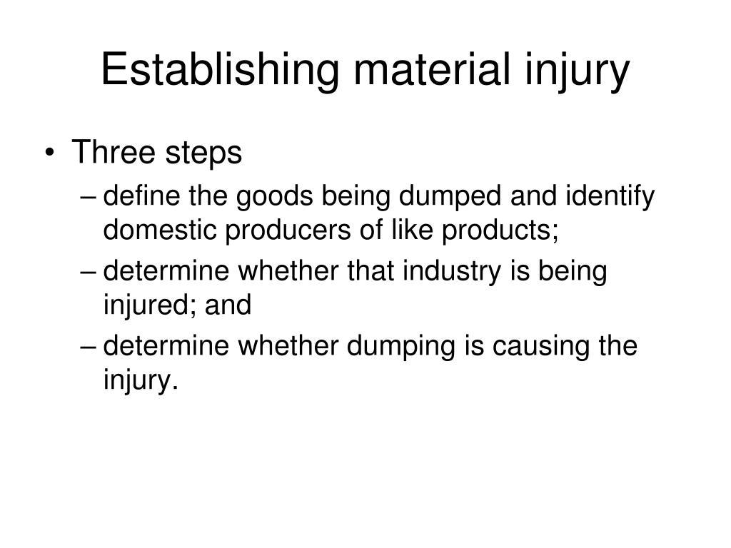 Establishing material injury