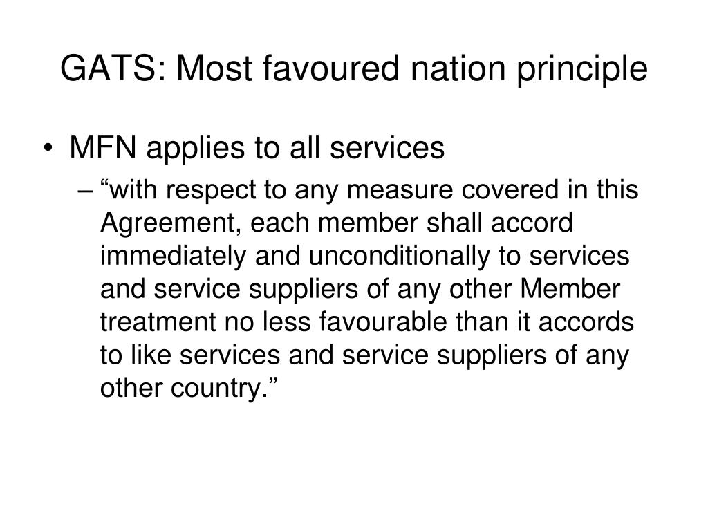 GATS: Most favoured nation principle
