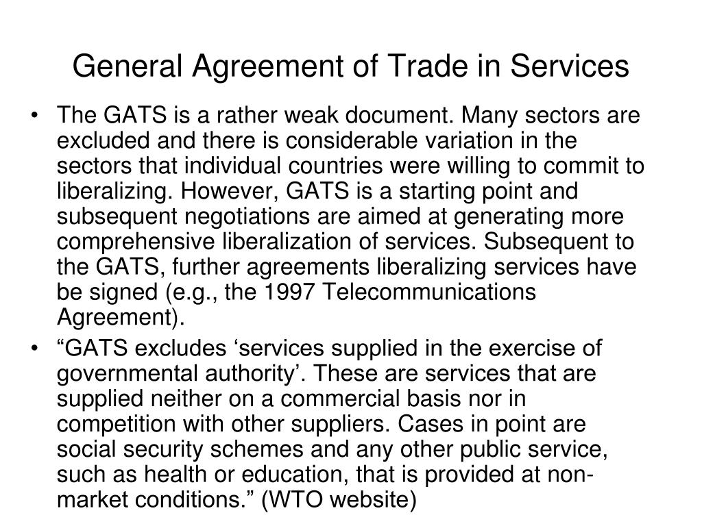 General Agreement of Trade in Services