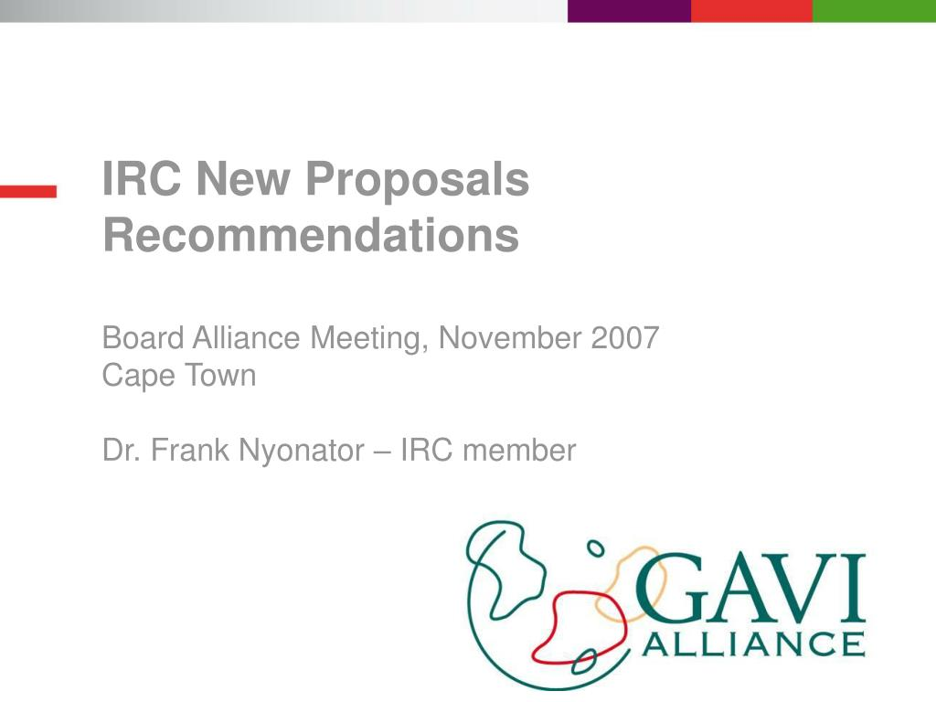 IRC New Proposals Recommendations
