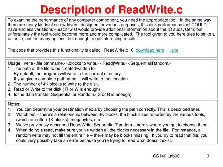 Description of ReadWrite.c