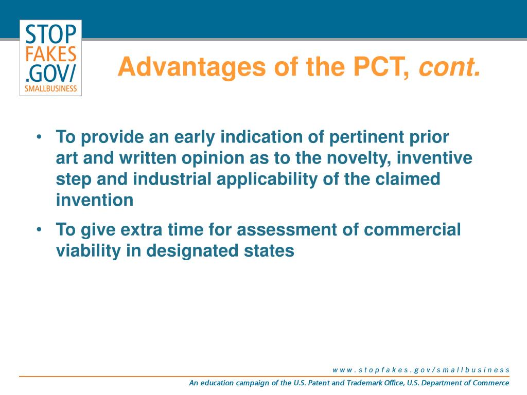 Advantages of the PCT,