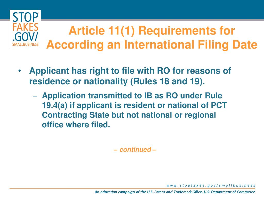 Article 11(1) Requirements for According an International Filing Date