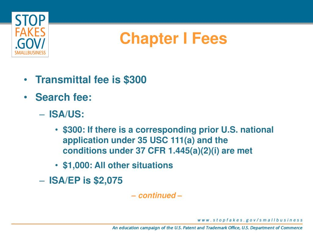 Chapter I Fees