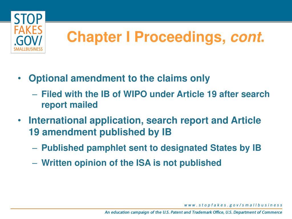 Chapter I Proceedings,