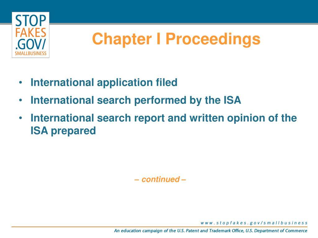 Chapter I Proceedings