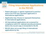 filing international applications in the ro us
