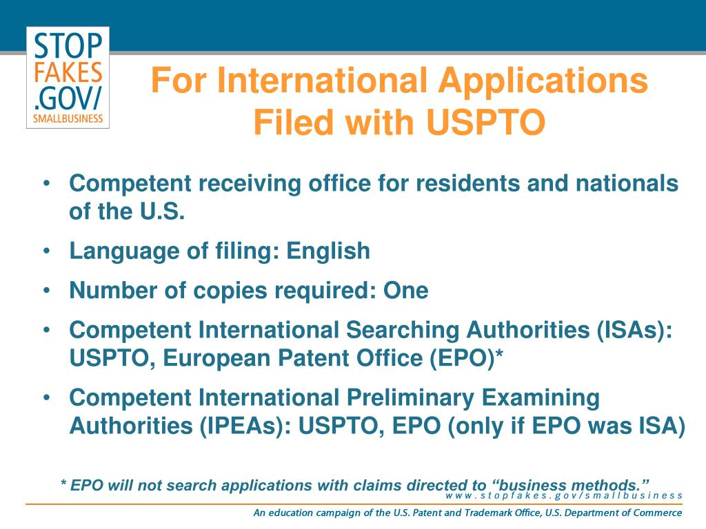 For International Applications Filed with USPTO