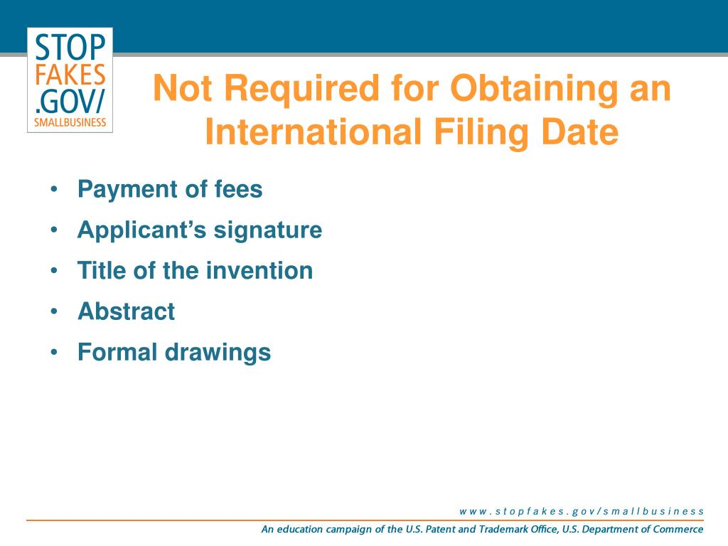 Not Required for Obtaining an International Filing Date