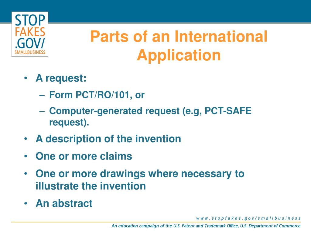 Parts of an International Application