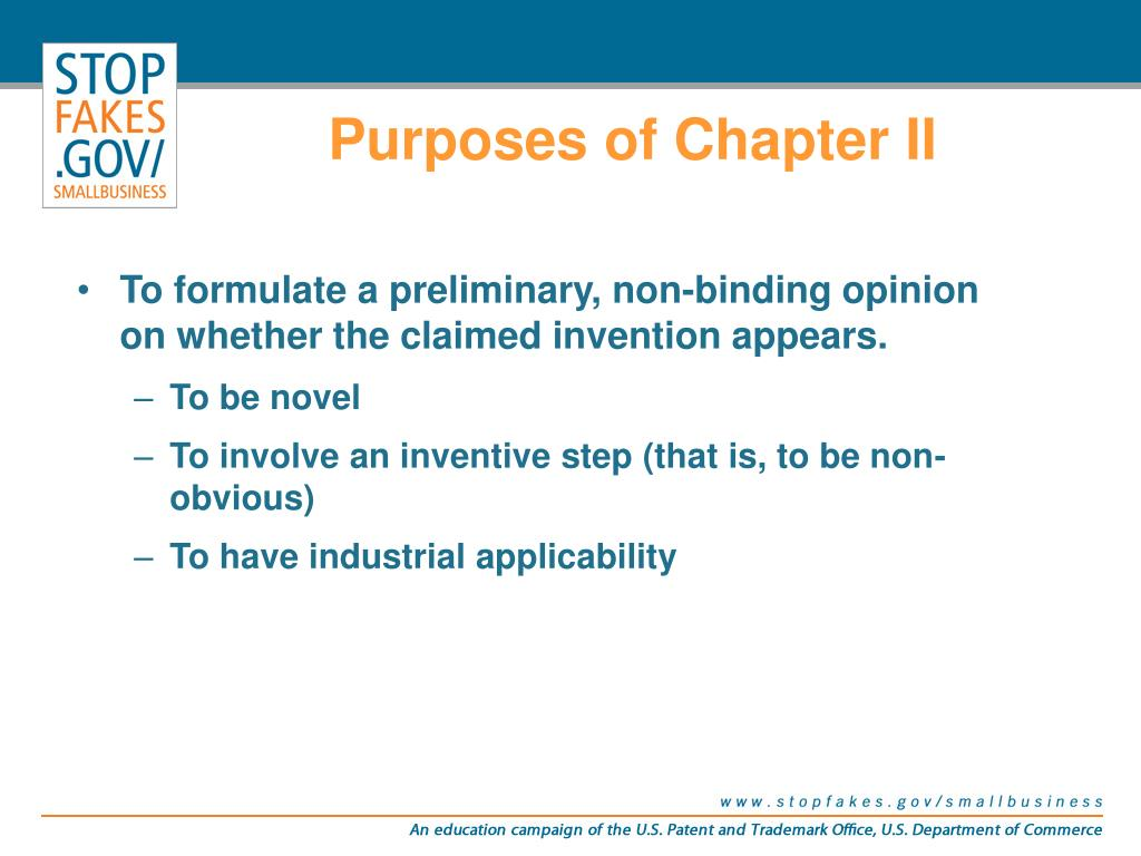 Purposes of Chapter II