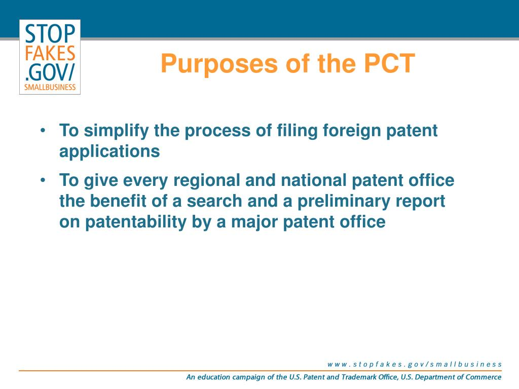 Purposes of the PCT