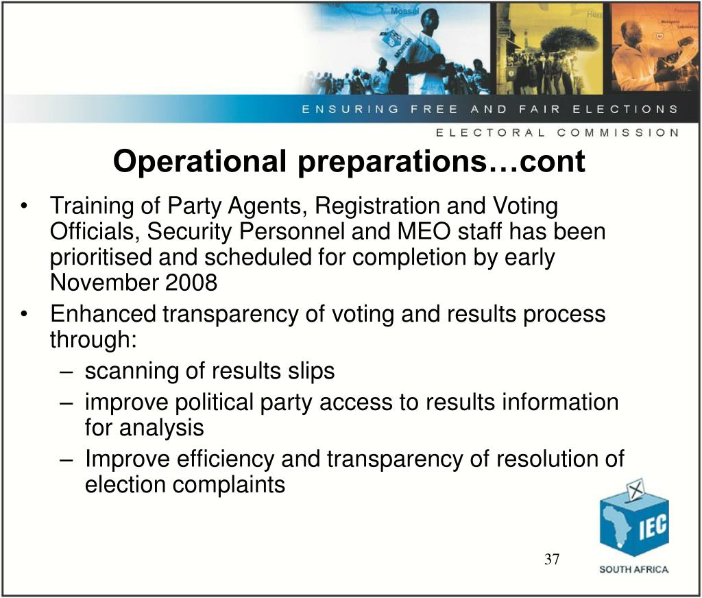 Operational preparations…cont