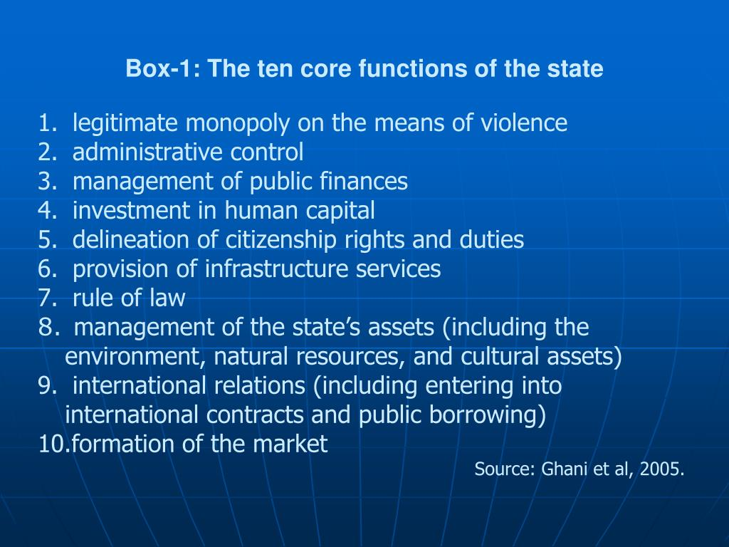 Box-1: The ten core functions of the state