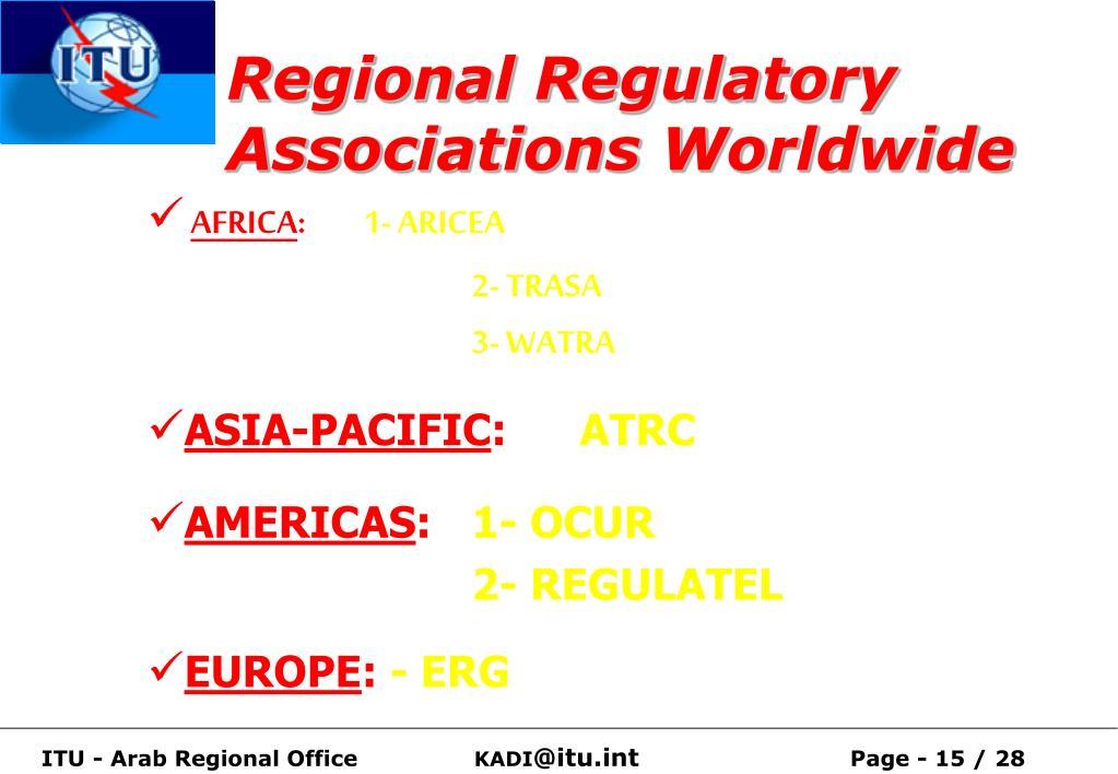Regional Regulatory Associations Worldwide