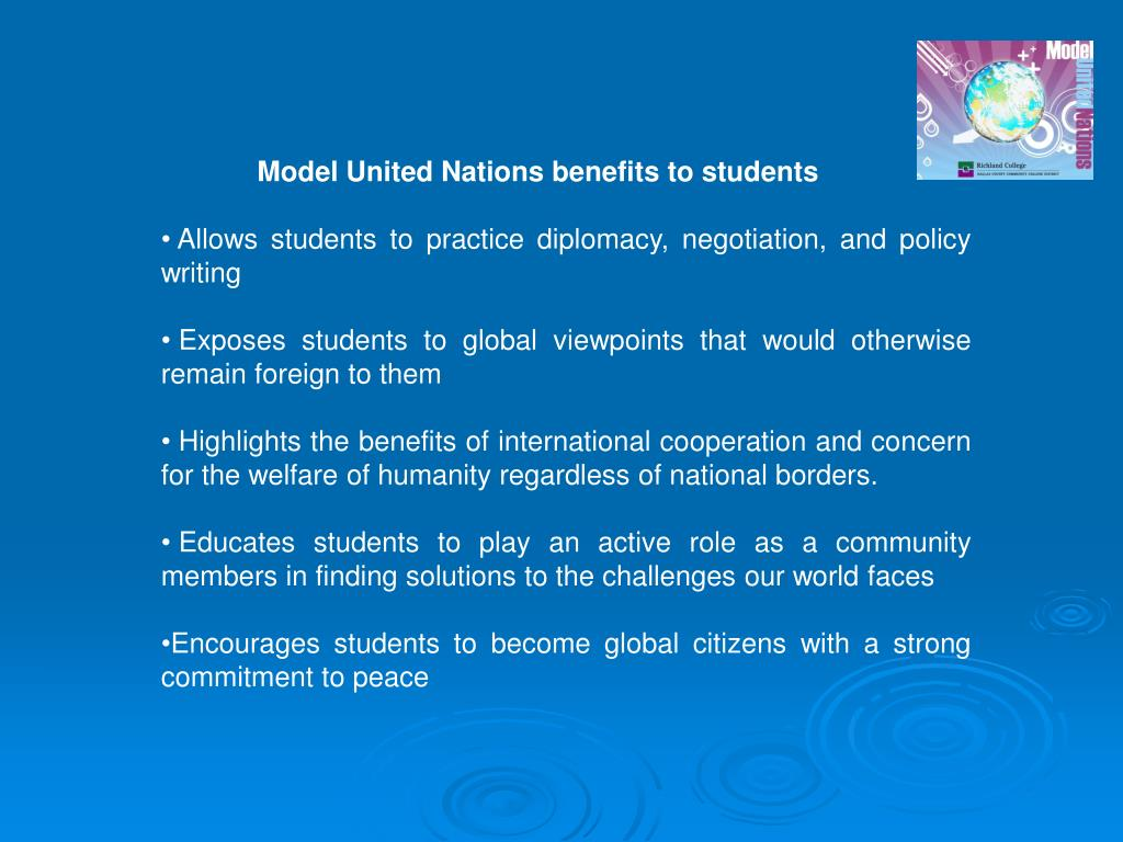 Model United Nations benefits to students