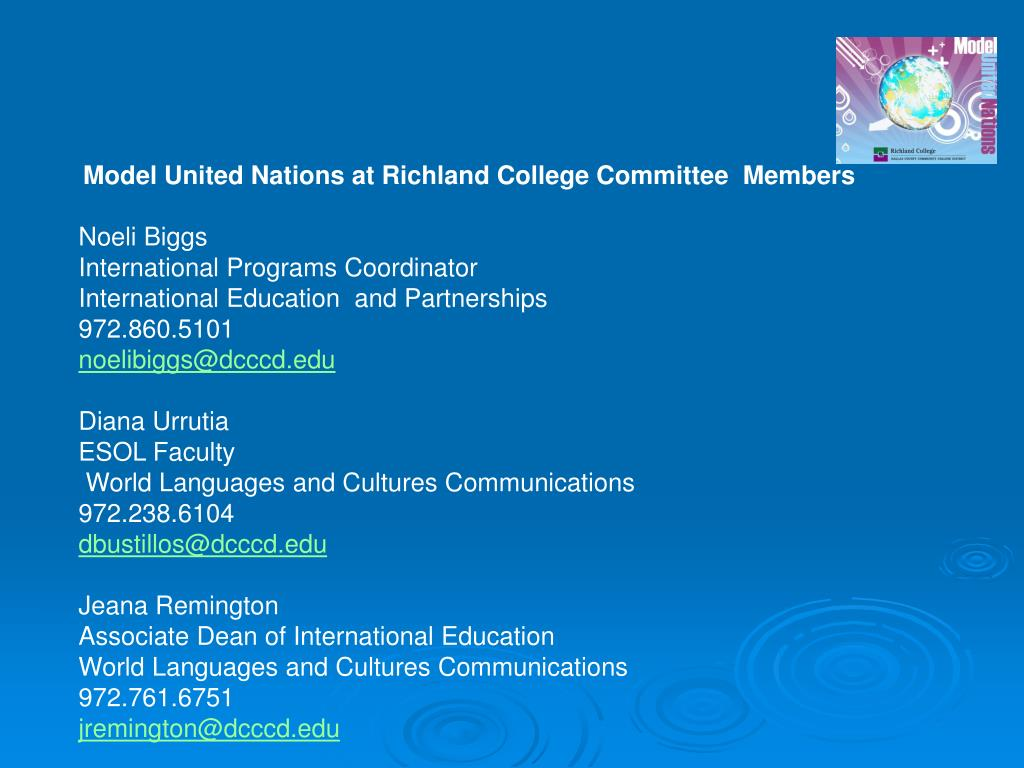 Model United Nations at Richland College Committee  Members