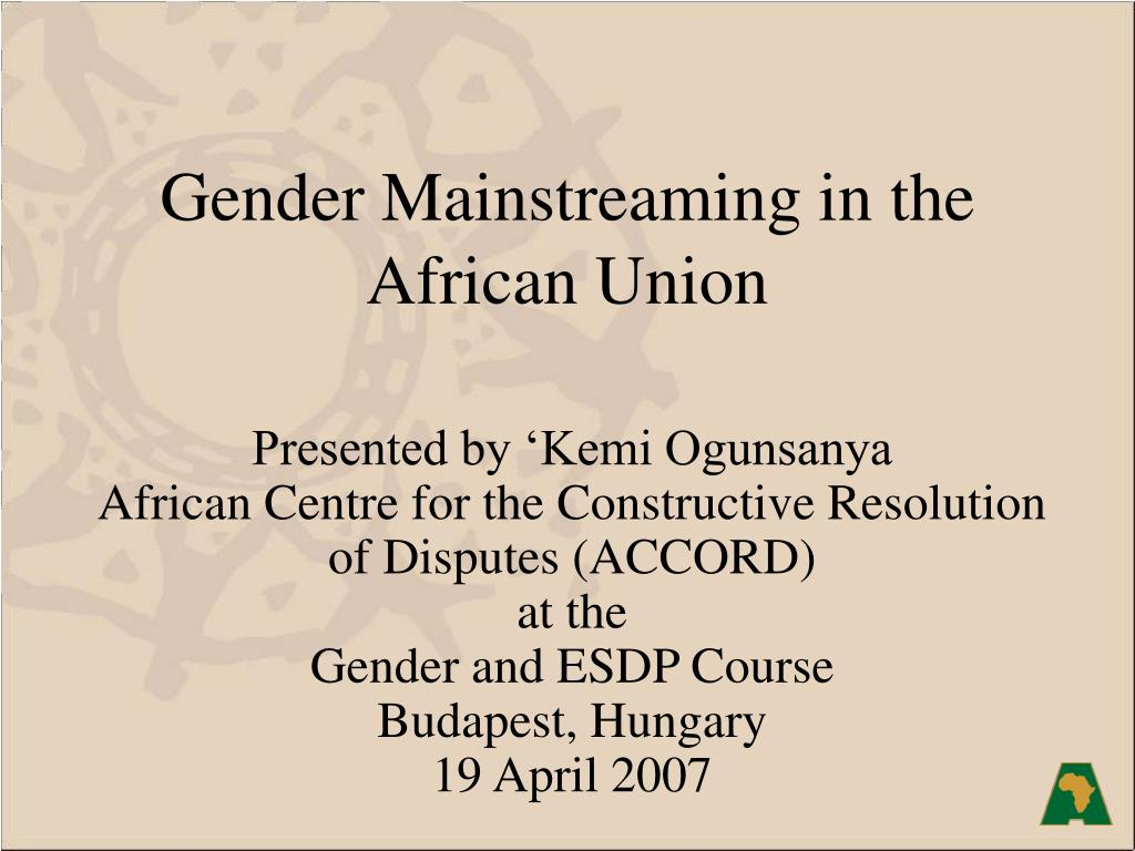 Gender Mainstreaming in the African Union