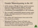 gender mainstreaming in the au9