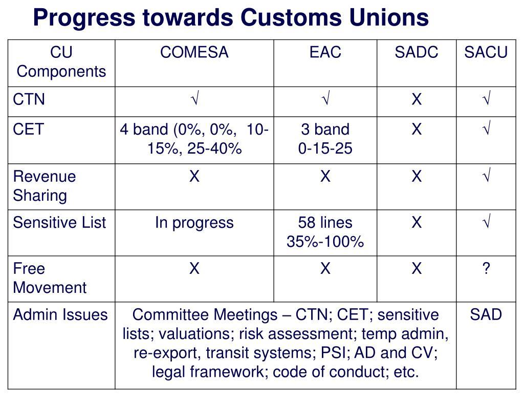 Progress towards Customs Unions