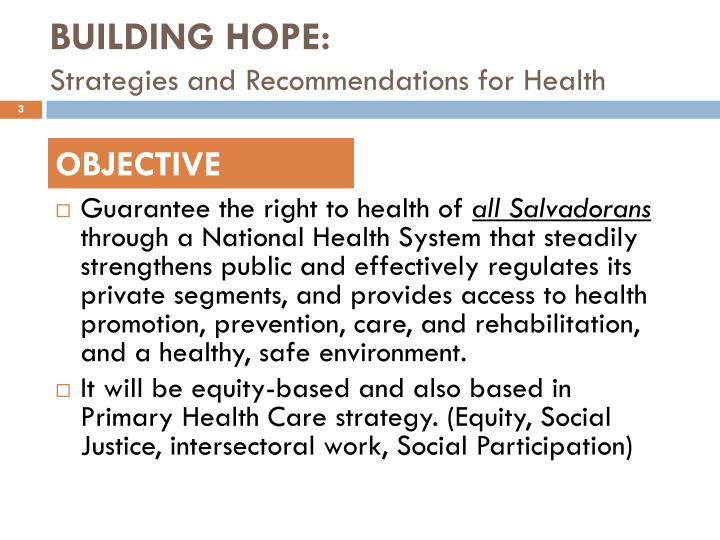 Building hope strategies and recommendations for health