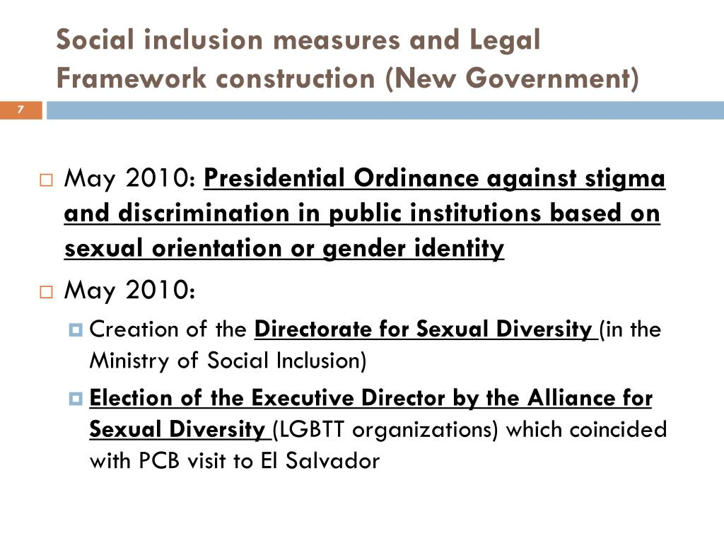 Social inclusion measures and Legal Framework construction (New Government)