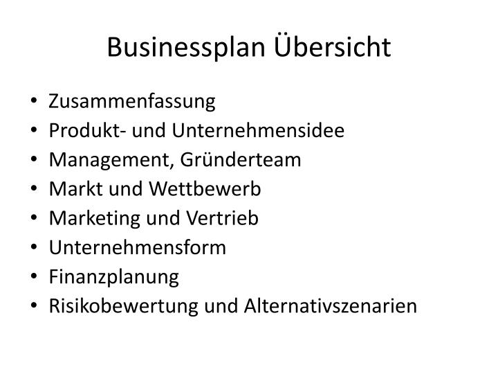 Businessplan bersicht