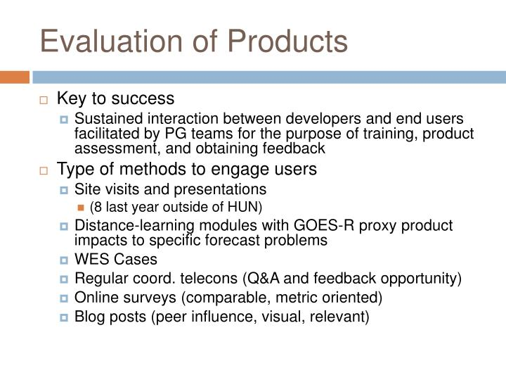 Evaluation of Products
