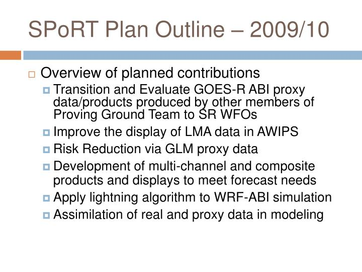 Sport plan outline 2009 10