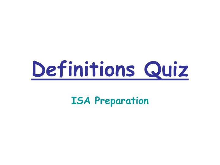 Definitions Quiz