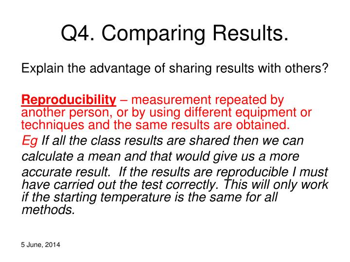 Q4. Comparing Results.