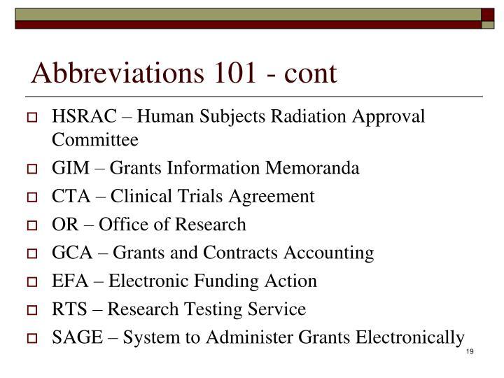Abbreviations 101 - cont