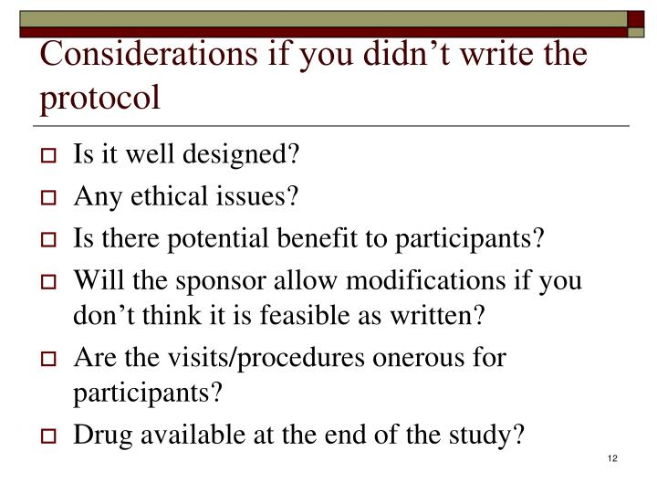 Considerations if you didn't write the protocol
