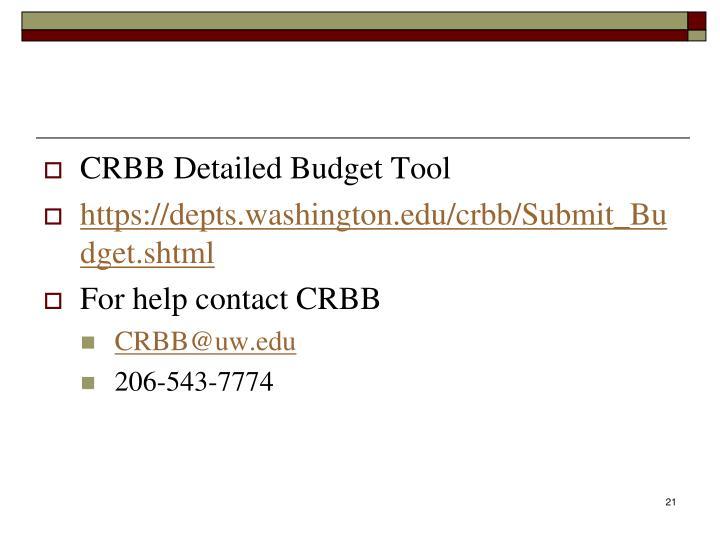 CRBB Detailed Budget Tool